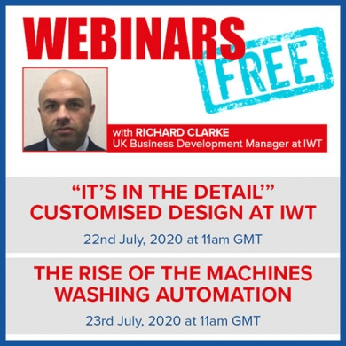 Join us for the latest FREE IWT webinars and develop your understanding of washing best practices and design.
